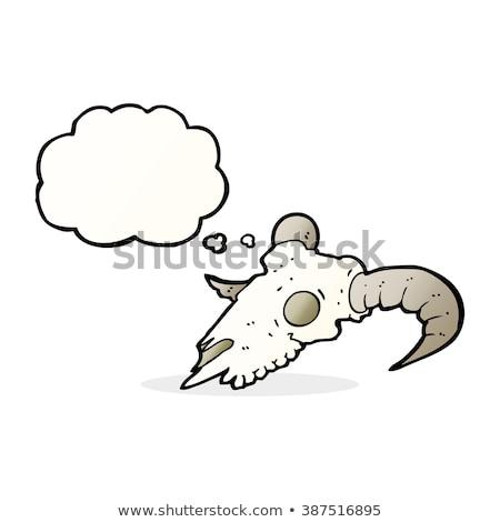 Cartoon baran czaszki bubble myśl strony projektu Zdjęcia stock © lineartestpilot