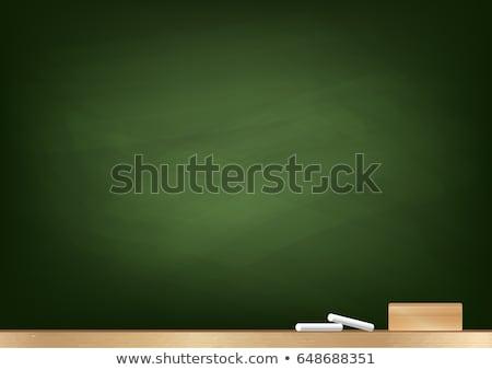 Iskolatábla fehér kréta fakeret vissza az iskolába kommunikáció Stock fotó © vinnstock