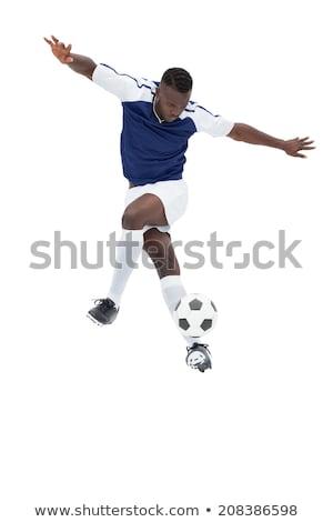 futballista · kék · rúg · labda · fehér · sport - stock fotó © wavebreak_media