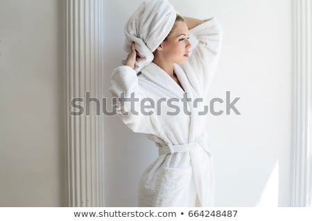 morning bedroom   woman in bathrobe stock photo © candyboxphoto