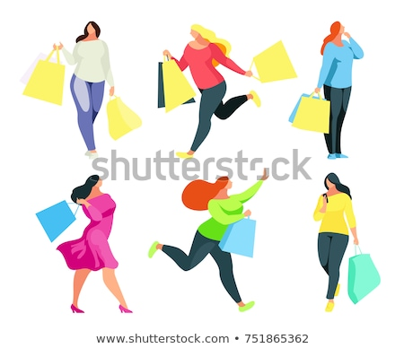 Zdjęcia stock: Plus Size Fashion Woman With Shopping Bags Vector Illustration