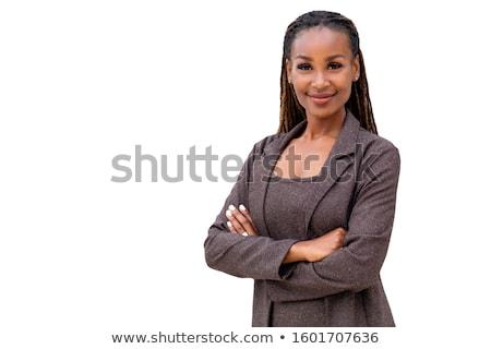 Isolé femme d'affaires jeunes portable bureau fille Photo stock © fuzzbones0