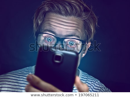 Nerd and internet addiction Stock photo © alphaspirit