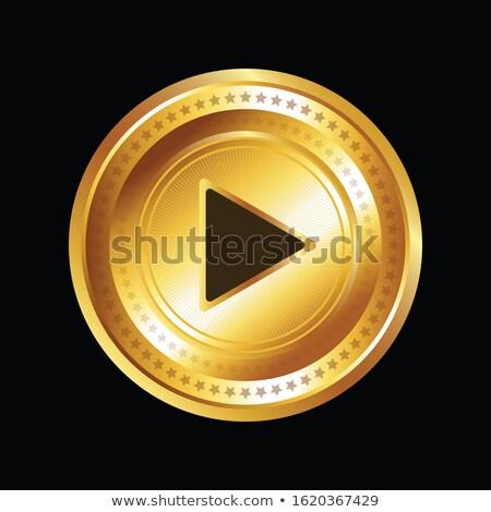 Vídeo vetor ouro ícone web botão Foto stock © rizwanali3d