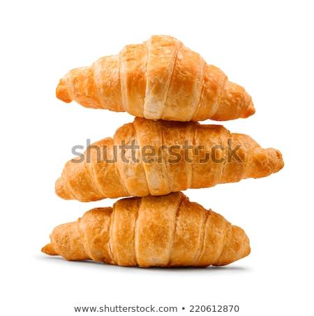 croissant · isolado · branco · trigo · café · da · manhã · alimentação - foto stock © homydesign