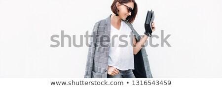 Aantrekkelijke vrouw grijs jas portret modieus vrouw Stockfoto © filipw