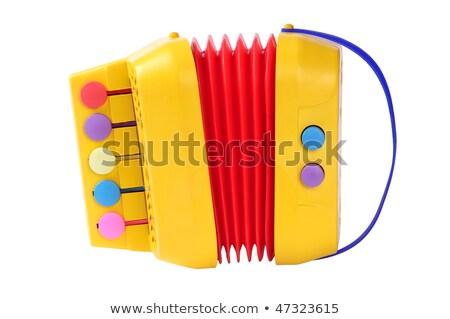 Harmonika játék kicsi kék gyerekek izolált Stock fotó © simply