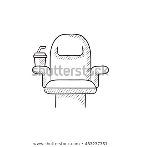 Mozi szék eldobható csésze rajz ikon Stock fotó © RAStudio