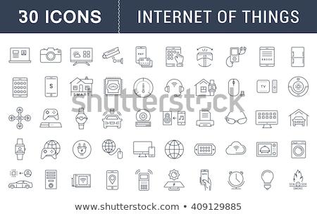 tecnología · línea · icono · vector · aislado · blanco - foto stock © RAStudio