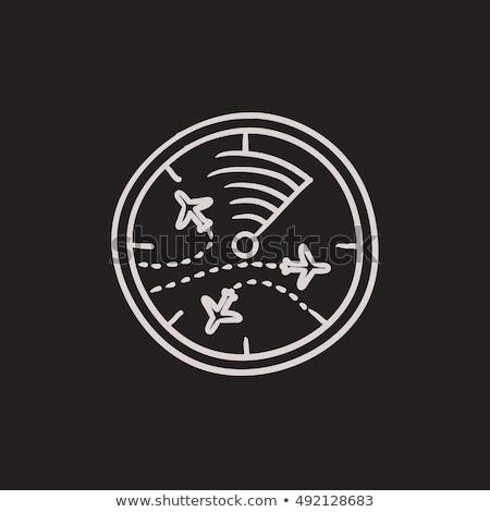 Stock fotó: Radar · képernyő · repülőgépek · rajz · ikon · vektor