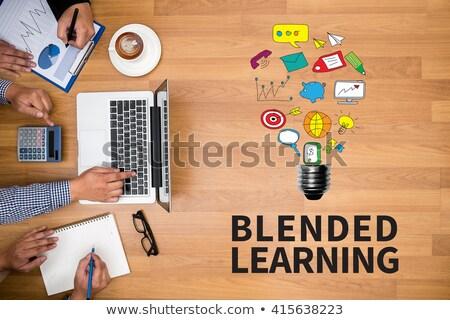 on-line · treinamento · azul · teclado · botão · dedo - foto stock © tashatuvango