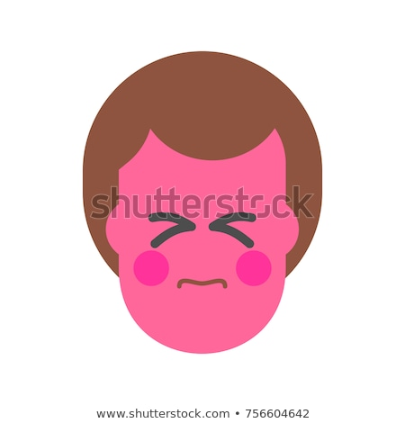 Straining face. Strain Emoji Red face man. Icon avatar vector il Stock photo © MaryValery
