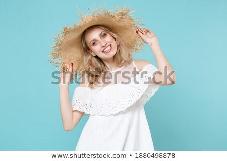 énergie femme bleu robe posant studio Photo stock © arturkurjan