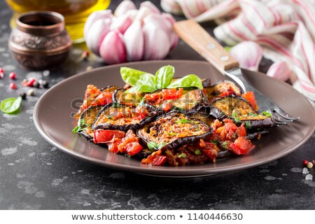 fried eggplant and red pepper Stock photo © tycoon