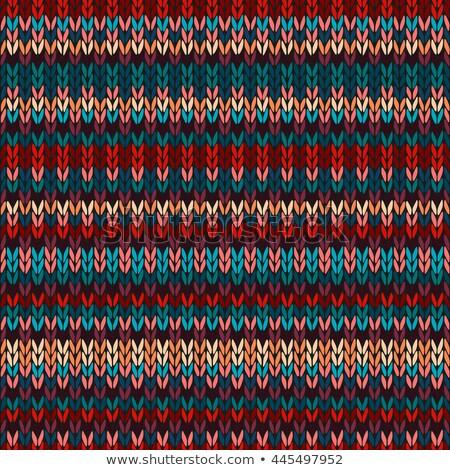 красный бесшовный этнических геометрический трикотажный шаблон Сток-фото © ESSL