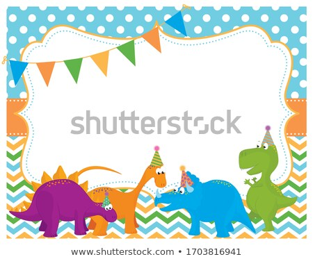 set of 4 cards templates with dinosaurs for birthday invitations scrapbooking stock photo © natali_brill