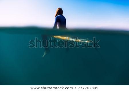 Nő ül szörfdeszka víz jókedv szabadság Stock fotó © IS2