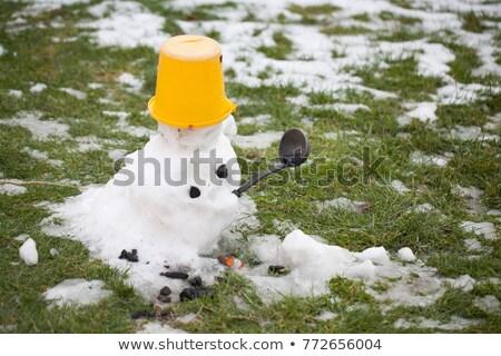 triste · pupazzo · di · neve · depressione · bambino · design · neve - foto d'archivio © maryvalery
