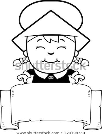Gyermek zarándok szalag rajz illusztráció fiú Stock fotó © cthoman