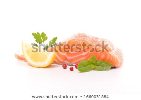 Raw salmon on the white background Stock photo © Alex9500
