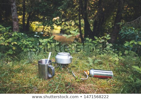 Small kettle boiling on a gas stove Stock photo © MikhailMishchenko