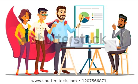 Office Hero Completing A Business Plan In Cloak Of Superhero Among Colleagues Vector. Isolated Illus Stock photo © pikepicture