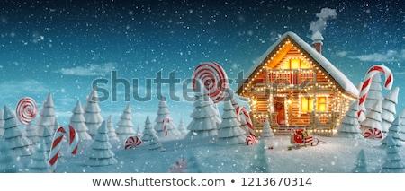 Karácsony manó erdő illusztráció fa tájkép Stock fotó © colematt