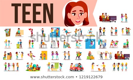 Teen Set Vector. Lifestyle Teenager Situations. Spending Time Together At Home, Outdoor. Isolated Ca Stock photo © pikepicture