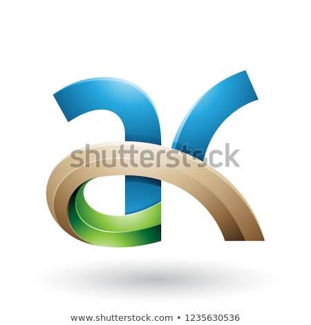 Blue and Beige 3d Bold Curvy Letter A and K Vector Illustration Stock photo © cidepix