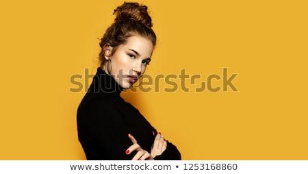 portre · genç · kadın · kazak · ayakta · yalıtılmış · sarı - stok fotoğraf © deandrobot
