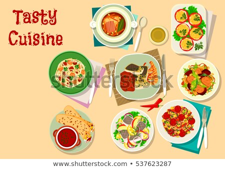 Food Dishes of Russian Cuisine Vector Illustration Stock photo © robuart
