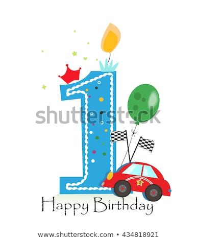 Boldog születésnapot kártya egyéves fiú illusztráció boldog Stock fotó © colematt
