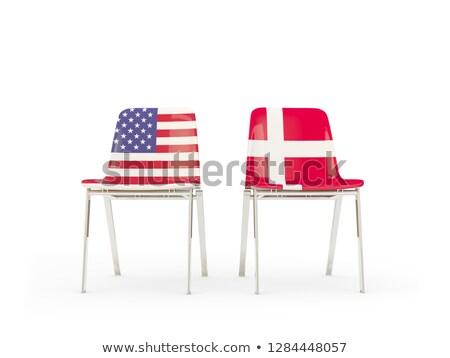 Twee stoelen vlaggen Denemarken geïsoleerd witte Stockfoto © MikhailMishchenko