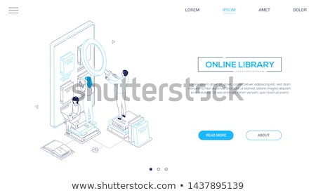 online library   modern colorful isometric vector web banner stock photo © decorwithme