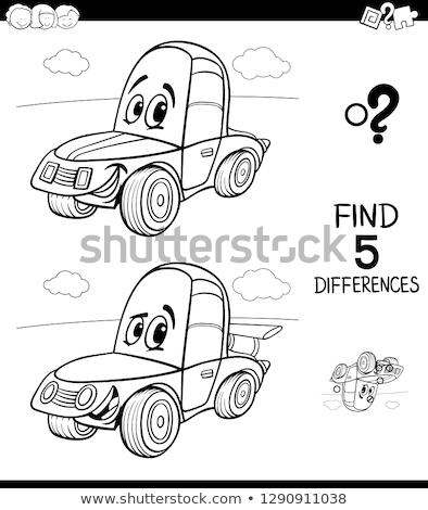 Farklılıklar oyun araba renk kitap siyah beyaz Stok fotoğraf © izakowski