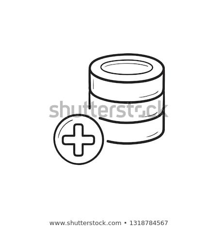 ストックフォト: データベース · プラス · 手描き · いたずら書き · アイコン