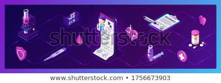 Mesajlaşma uygulama izometrik 3D afiş Stok fotoğraf © RAStudio