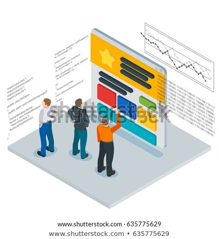 seo optimization   line design style isometric web banner stock photo © decorwithme
