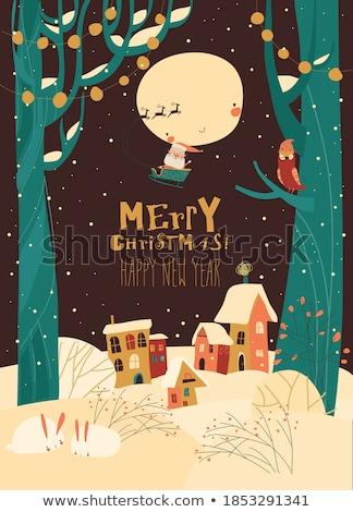 geyik · Noel · gece · köy · kırmızı - stok fotoğraf © liolle