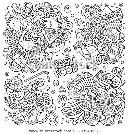 burger · frites · Label · weiß · Zeichnung · Karikatur - stock foto © balabolka