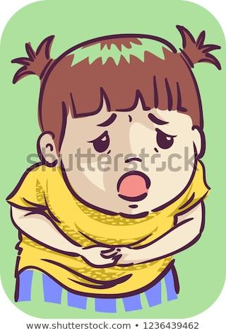 Fille abdominale illustration Kid Photo stock © lenm