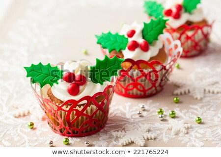 Christmas festive cupcake with cream Stock photo © furmanphoto