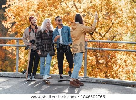 grup · dört · sonbahar · manzara · kız - stok fotoğraf © monkey_business