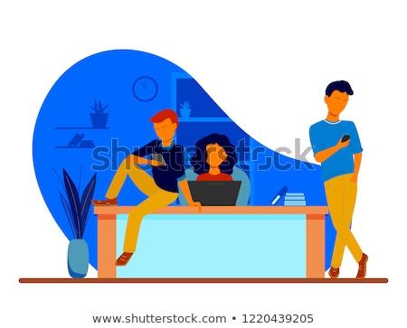 Fiatal üzletember dolgozik ül asztali számítógép asztal Stock fotó © snowing