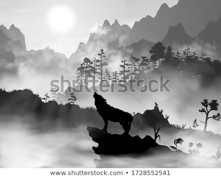 Landscape with wolf silhouette flat vector illustration Stock photo © barsrsind