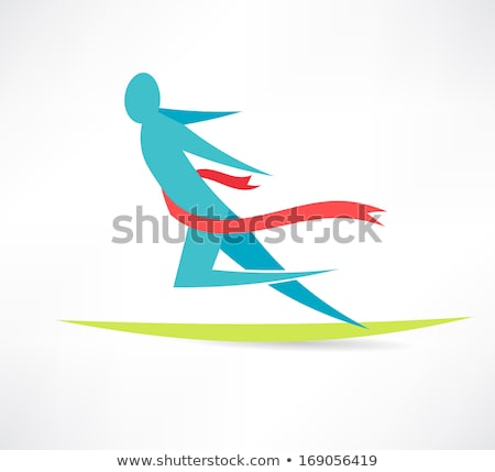 Finish Tape Person Crosses Finish Line Icon Vector Outline Illustration Stock photo © pikepicture