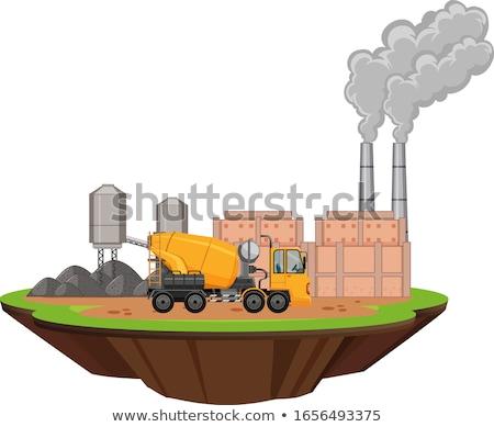 Scène fabriek gebouwen trekker plaats illustratie Stockfoto © bluering