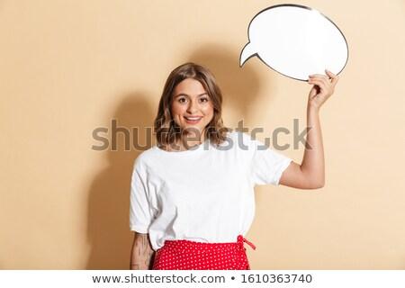 画像 美人 赤 スカート 考え ストックフォト © deandrobot