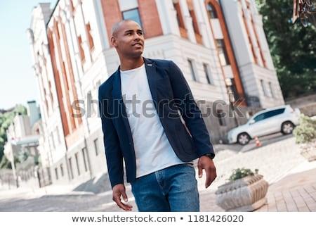 Obraz łysy człowiek uśmiechnięty patrząc Zdjęcia stock © deandrobot