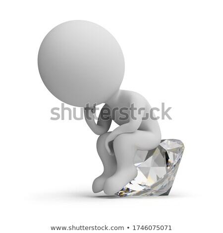 3D wenig Menschen Denker Diamant Bild Stock foto © AnatolyM